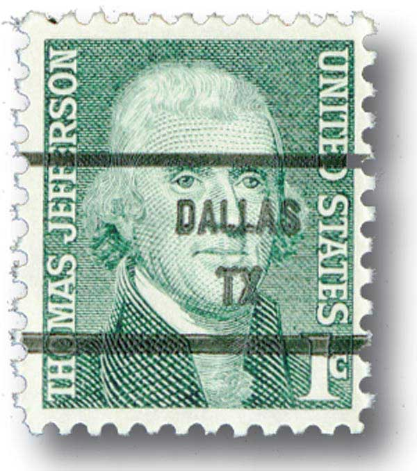1965-78 1c Thomas Jefferson,precanceled
