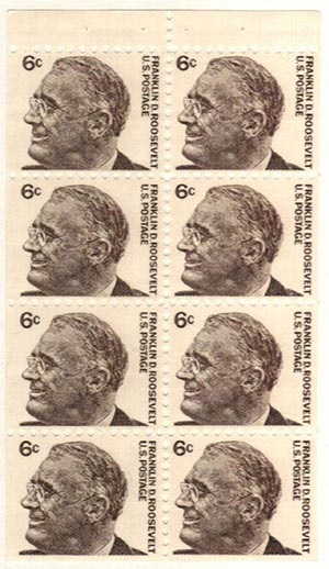 1967 6c Franklin D. Roosevelt, pane of 8