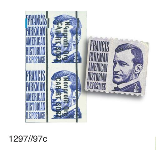 1966 3c Francis Parkman, imperf with free normal stamp