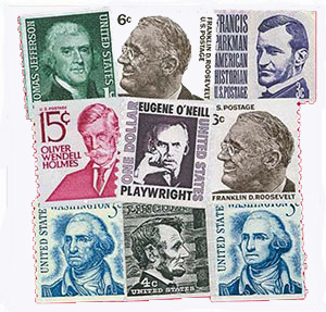 1966-81 1c-$1 Prominent American Series, set of 9 coil stamps