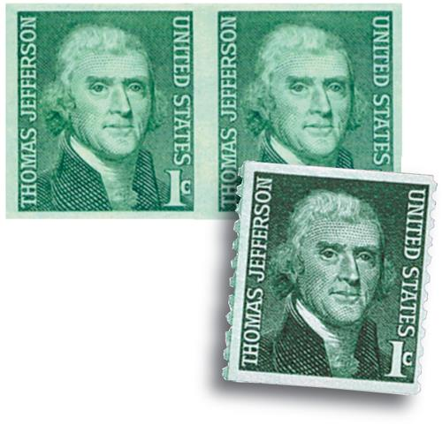 1968 1c Thomas Jefferson imperf & Normal
