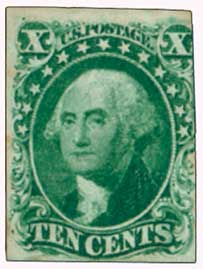 1855 10c Washington, green, type I, imperforate