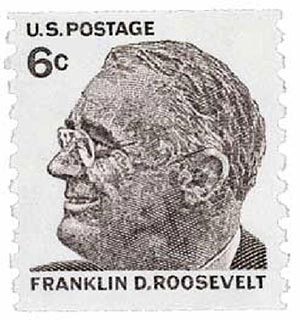 1968 6c Prominent Americans: Franklin D. Roosevelt, perf 10 vertical