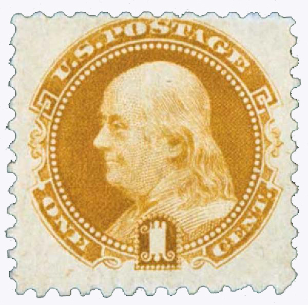 1880-82 1c Franklin, issued with gum