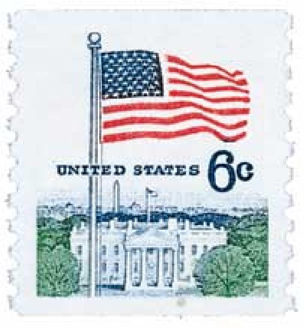 1969 6c Flag and White House, Perforated 10 Vertically