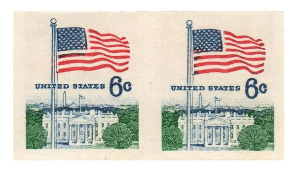 1969 6c Flag and White House, Huck Press, perf 10 vert imperf pair