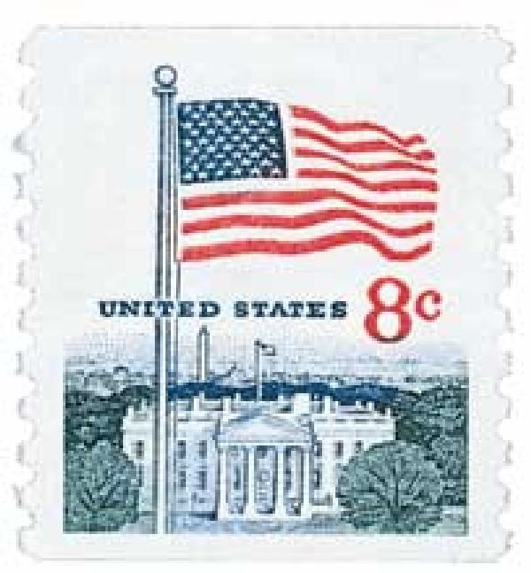 1971 8c Flag and White House, perf 10 vertical