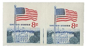 1971 8c Flag and White house imperf