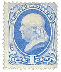 1870 1c Franklin, ultramarine H Grill