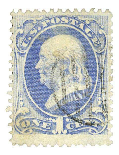 1870 1c Franklin ultramarine 'I Grill'