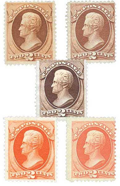 1870-79 Bank Note Grills, 5 used stamps
