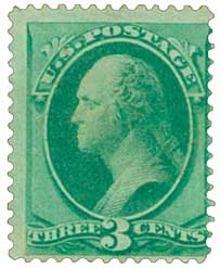 1870 3c Washington, green H Grill  Paperfold