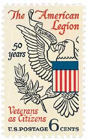 U.S. #1369 was issued for the 50th anniversary of the American Legion.