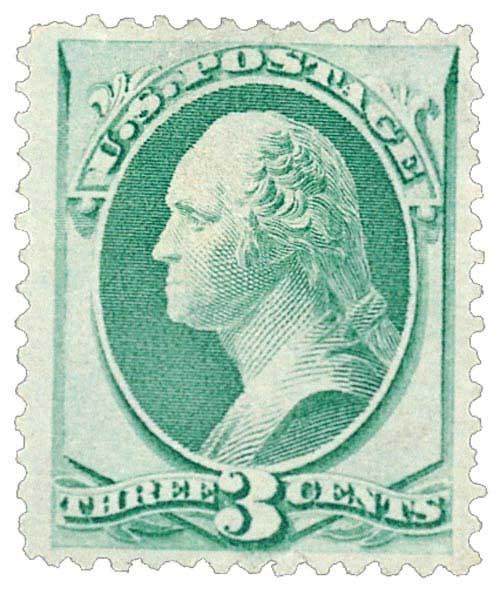 1870 3c Washington, green 'I Grill'