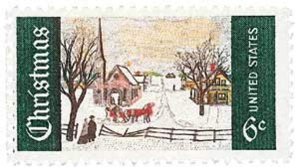 "1969 6c Contemporary Christmas: ""Winter Sunday in Norway, Maine"""
