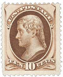 1870 10c Jefferson, brown
