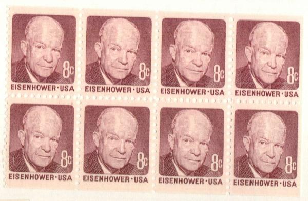 1970-74 8c Dwight D. Eisenhower, booklet pane of 8