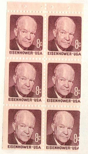1970-74 8c Dwight D. Eisenhower, booklet pane of 6