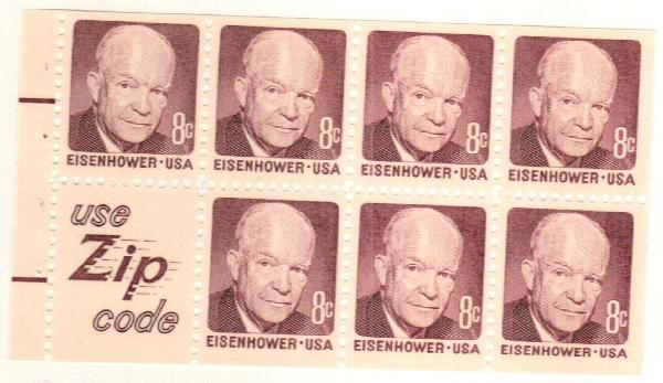 1970-74 8c Dwight D. Eisenhower, booklet pane of 7 with label