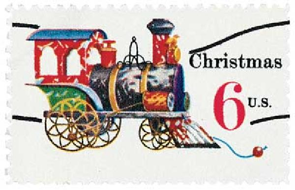1970 6c Contemporary Christmas: Christmas Toys, Locomotive, precancel