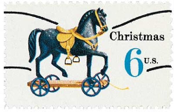 1970 6c Contemporary Christmas: Christmas Toys, Horse, precancel