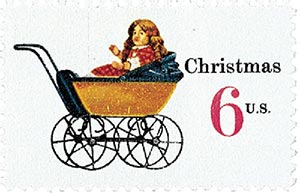 1970 6c Contemporary Christmas: Christmas Toys, Doll Carriage