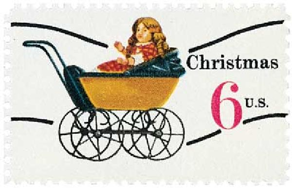 1970 6c Contemporary Christmas: Christmas Toys, Doll Carriage, precancel