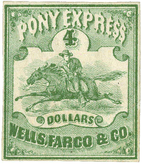 1861 $4 green, Pony Express