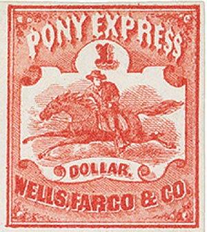 1861 $1 Red, Pony Express