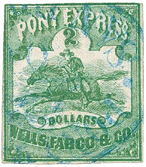 1861 $2 Green, Pony Express