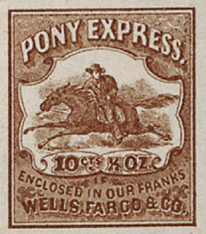 1862-64 10c Wells Fargo & Co. Local Stamp - Pony Express, brown