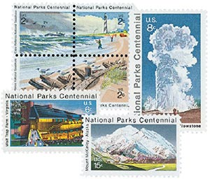 1972 National Parks Centennial set of 7 stamps