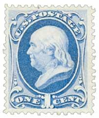 1870-71 1c Franklin, ultramarine