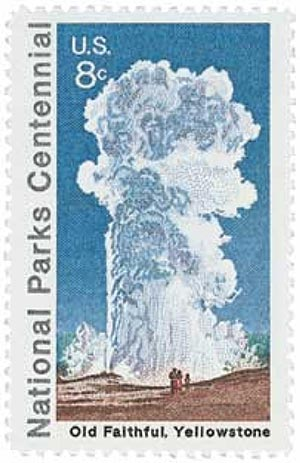 1972 8c National Parks Centennial: Old Faithful, Yellowstone