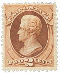 1870-71 2c Jackson, red brown