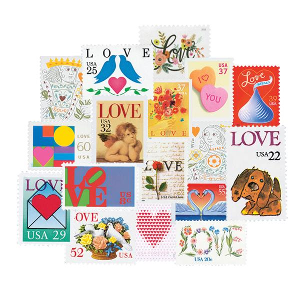 1973-2020 Love Series, complete set of 64 stamps