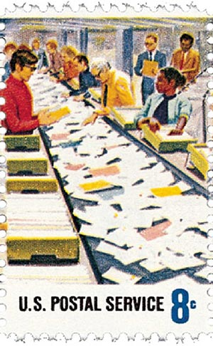 1973 8c Postal Service Employees: Conveyor Belt