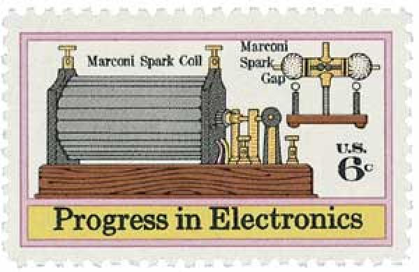 1973 6c Progress in Electronics: Marconis Spark Coil and Gap