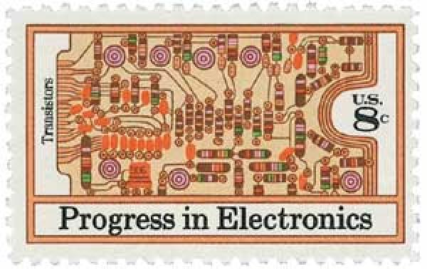 1973 8c Progress in Electronics: Transistors and Printed Circuit