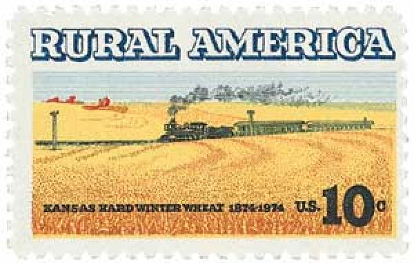 1974 10c Rural America: Winter Wheat and Train