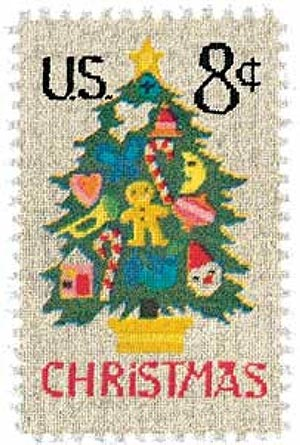 1973 8c Contemporary Christmas: Needlepoint Christmas Tree