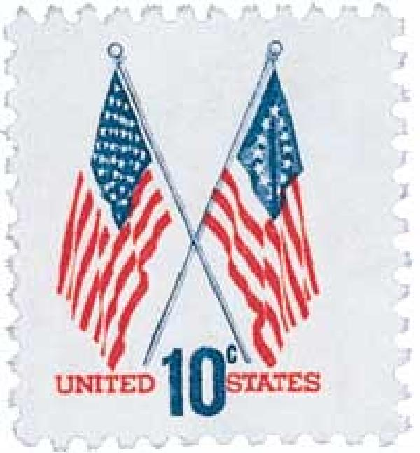 1973 10c 50-Star and 13-Star American Flags