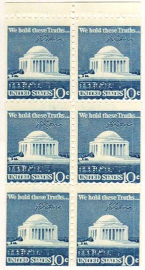 1974 10c Jefferson Mem.,bklt pane (6)