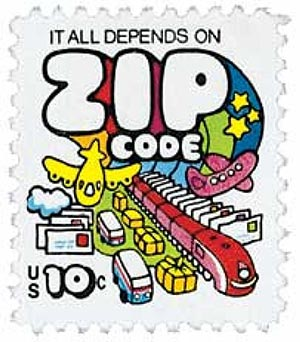 1974 10c Mail Transport, Zip Code Theme