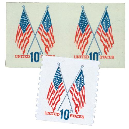 1973 10c 50 and 13 Star Flags, imperf pair with free regular