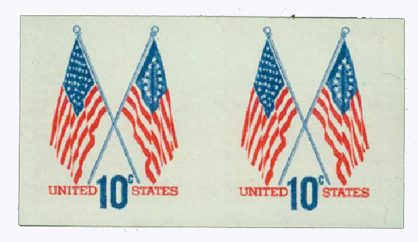 1973-74 10c 50&13 Star Flags, imperf