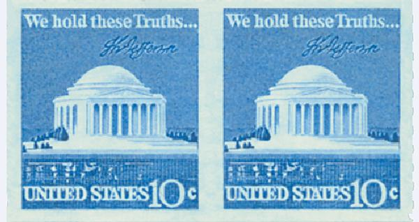1973-74 10c Jefferson Memorial, imperf pair w/free #1520 pair