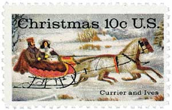 "1974 10c Contemporary Christmas: Currier and Ives ""Winter Road"""