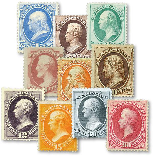 Complete Set, 1873 Continental Bank Note Printing, with Secret Marks