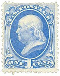 1873 1c Franklin, ultramarine